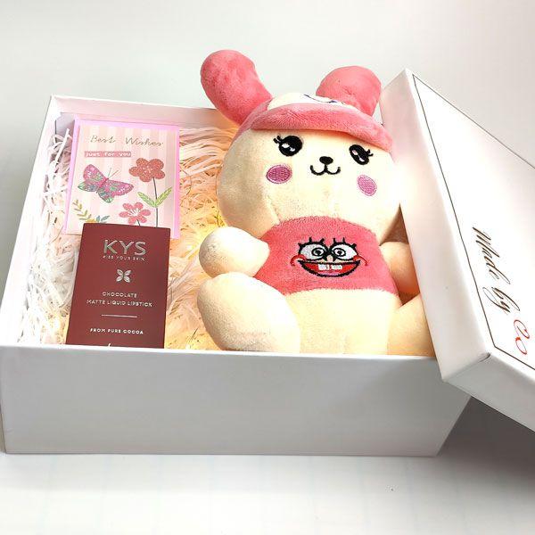 Hộp quà best wishes gấu bông và son HQ03
