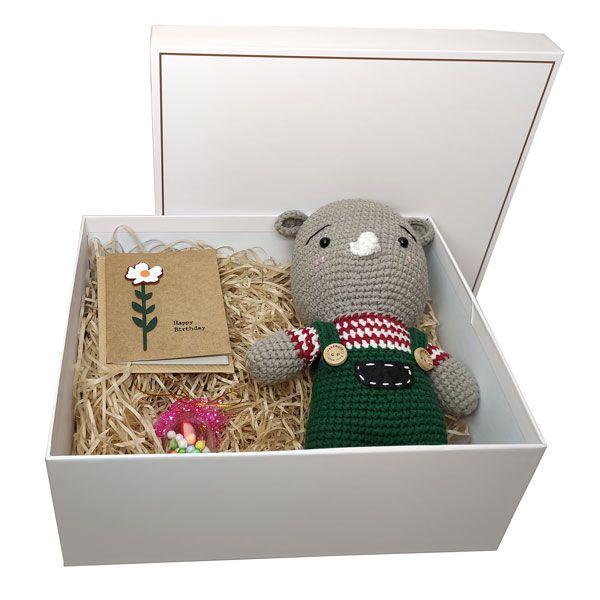Hộp quà tặng happy birthday gấu len và nắp