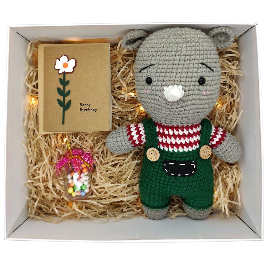 Hộp quà tặng happy birthday gấu len