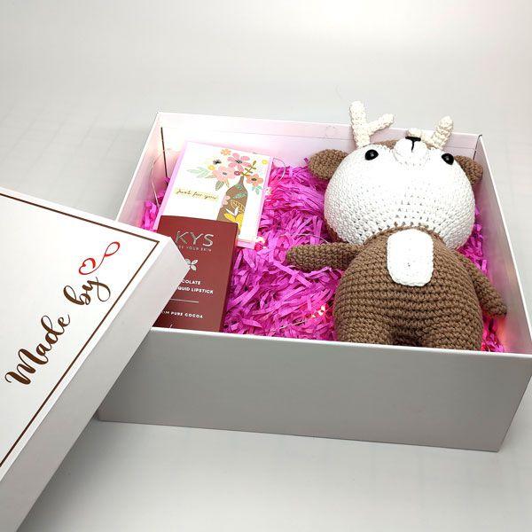 Hộp quà tặng just for you son và thú len HQ02
