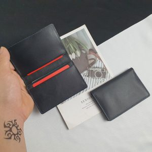 Ví mini đứng da bò thật màu đen trơn không khóa nhỏ gọn Vừa giấy tờ cần thiết - VD104