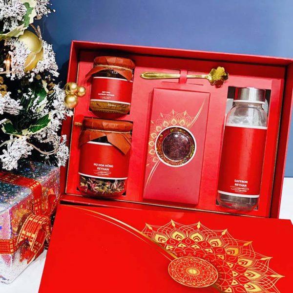 Hộp quà Tết đỏ - Nhụy hoa nghệ tây Saffron - HQ20