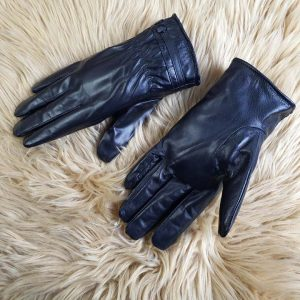 Găng tay da cừu thật 100% màu đen lót nỉ - GL101