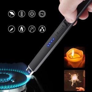 Bật lửa chuyên dụng đốt nến thơm bằng tia plasma hiển thị pin - LD02